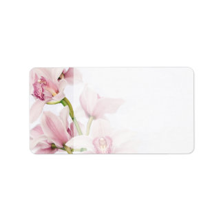 Pink Cymbidium Orchid Wedding Blank Address Labels