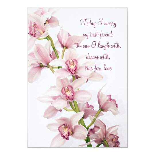 Size Wedding Invitation: Pink Cymbidium Orchid Wedding Invitation 5x7 Size