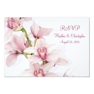 Pink Cymbidium Orchid Wedding Reply RSVP Card