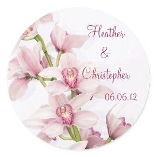Pink Cymbidium Orchid Wedding Stickers