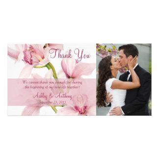 Pink Cymbidium Orchid Wedding Thank You Photocard Card