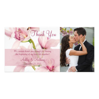 Pink Cymbidium Orchid Wedding Thank You Photocard Photo Card
