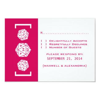 Pink D20 Dice Gamer Wedding Response Card Custom Announcement