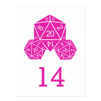 Pink D20 Dice Table Number Postcard