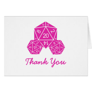 Pink D20 Dice Thank You Card Note Card
