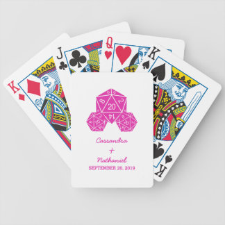 Pink D20 Dice Wedding Playing Cards
