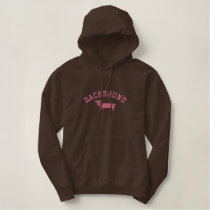 Pink Dachshund Embroidered Hoodie