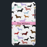 "Pink Dachshund iPod Touch Case<br><div class=""desc"">A great iPod case that is perfect for any dog lover.  It features a white background with little weenie dogs all over it.  A pink stripe runs through the center.  You customize the text in the center.</div>"