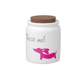 Pink Dachshund   Treat or Cookie Jar Candy Jar