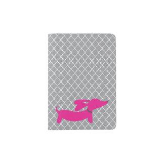 Pink Dachshund Wiener Dog Passport Cover Travel Passport Holder