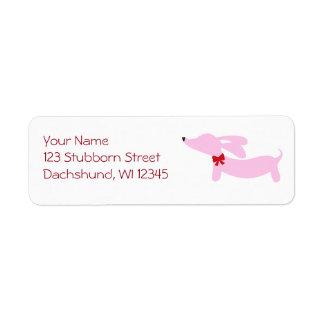 Pink Dachshund Wiener Dog with Bow Return Address Label