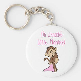 Pink Daddy's Little Monkey Basic Round Button Keychain