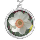 Pink Daffodil Beautiful Spring Flower Silver Plated Necklace