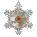 Pink Daffodil Beautiful Spring Flower Snowflake Pewter Christmas Ornament