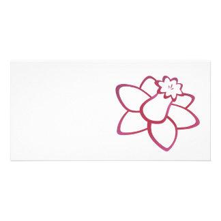 Pink Daffodil Custom Photo Card