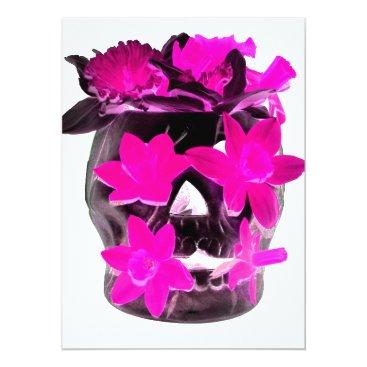 Halloween Themed Pink Daffodils in a Dark Skull Card