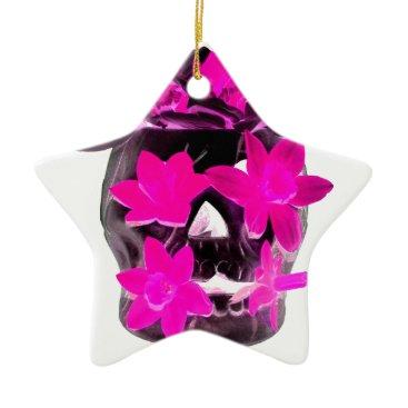 Halloween Themed Pink Daffodils in a Dark Skull Ceramic Ornament