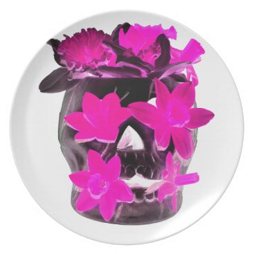 Halloween Themed Pink Daffodils in a Dark Skull Dinner Plate