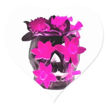 Halloween Themed Pink Daffodils in a Dark Skull Heart Sticker