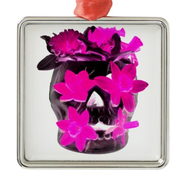 Halloween Themed Pink Daffodils in a Dark Skull Metal Ornament