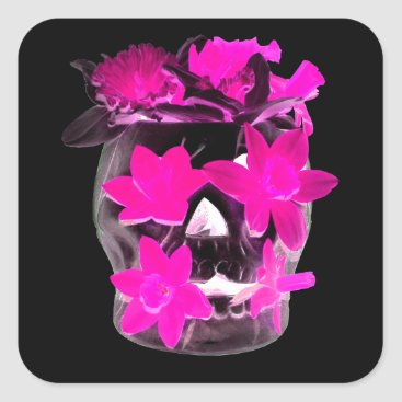 Halloween Themed Pink Daffodils in a Dark Skull Square Sticker