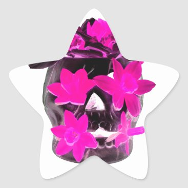 Halloween Themed Pink Daffodils in a Dark Skull Star Sticker