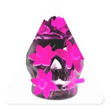 Halloween Themed Pink Daffodils in a Dark Skull Triangle Sticker