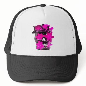 Halloween Themed Pink Daffodils in a Dark Skull Trucker Hat