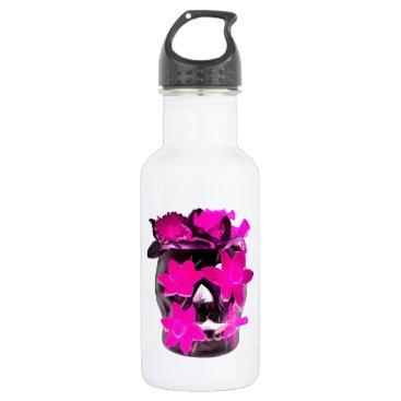 Halloween Themed Pink Daffodils in a Dark Skull Water Bottle