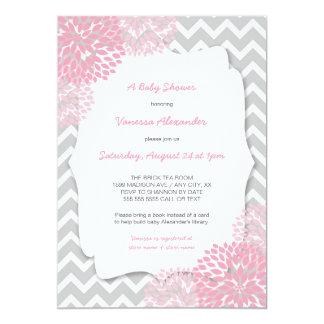 Pink Dahlia Baby shower invites / purple grey
