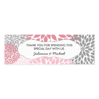 Pink Dahlia Favor Tag / baby shower / wedding Mini Business Card