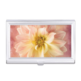 Pink Dahlia Flower Blossom Floral Business Card Case