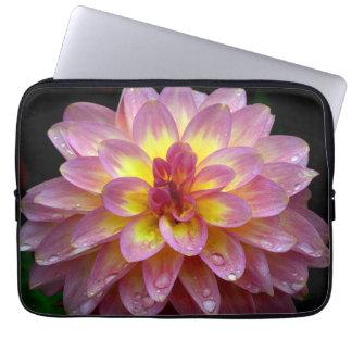 Pink dahlia flower design laptop sleeve