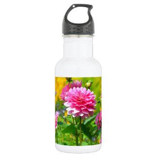 Pink dahlia flower garden water bottle