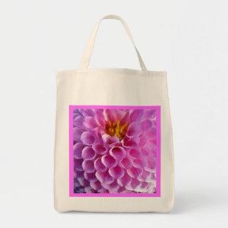 Pink Dahlia Flower Macro Reusable Tote Bag