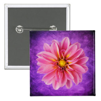 Pink Dahlia Flower on Purple Watercolor Background 2 Inch Square Button
