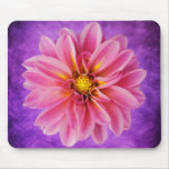 Pink Dahlia Flower on Purple Watercolor Background Mousepad