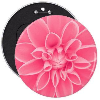 Pink dahlia flower pinback button