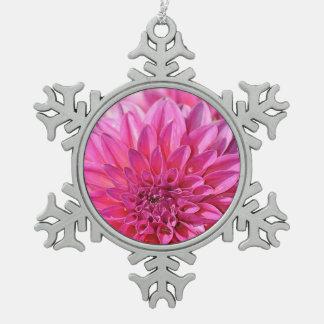 Pink dahlia flower print christmas ornament