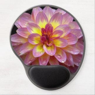 Pink dahlia flower print gel mousepad
