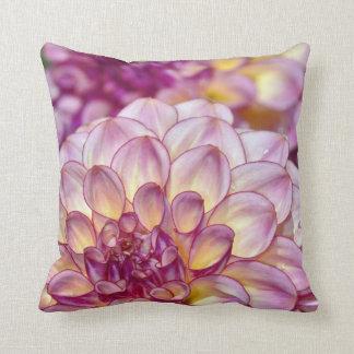 Pink dahlia flower throw cushion
