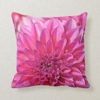 Pink dahlia flower throw pillow