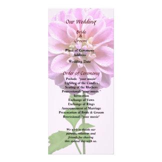 Pink Dahlia in the Rain Wedding Program