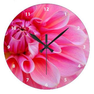 Pink Dahlia Large Clock