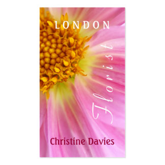 Pink Dahlia macro photograhy, florist Business Card Templates