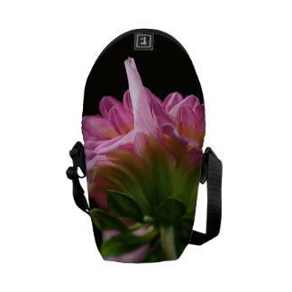 Pink Dahlia Mini Messenger Bag Outside Print