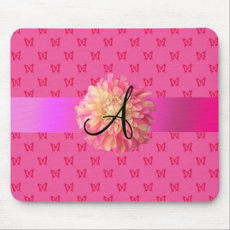 Pink dahlia pink butterflies mousepad