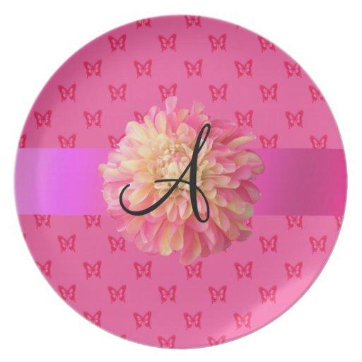 Pink dahlia pink butterflies plate