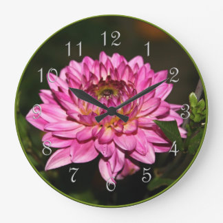 Pink Dahlia Round Wall Clock