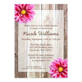 Pink Dahlia Rustic Barn Wood Bridal Shower Personalized Invite